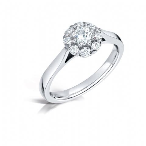 GIA Certified G VS Diamond cluster ring, Platinum. Round brilliant centre stone - 0.75ct